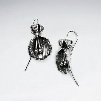 Oyster Inspired Oxidized Silver Drop Earrings