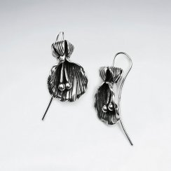 Oyster Inspired Oxidized Silver Drop Earrings