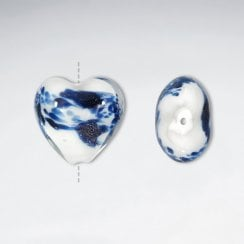 Pack of 10 Swirl Motif Heart Shaped Glass Beads
