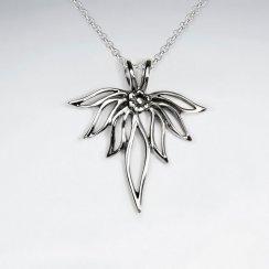 Partial Flower Cutout Silver Pendant
