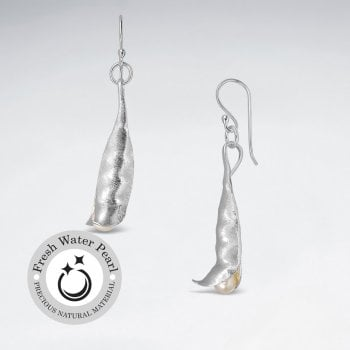 Pea Pod Silver Dangling Silver Earring With Pearl