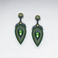Peacock's Plume Glass Beaded Brass Drop Earrings