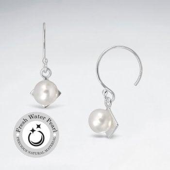 Pearl Drop and Silver Diamond Shape Dangle Earrings