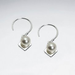 Pearl Drop and Silver Diamond Shape Dangle Earrings