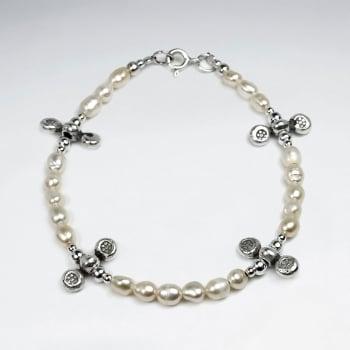 Pearl & Sterling Silver Charm Bracelet