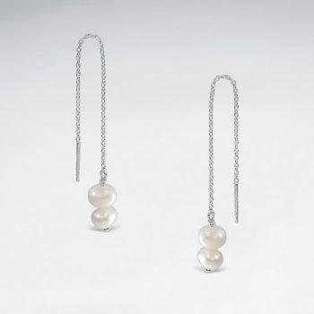 Pearl Threader Earrings in Sterling Silver