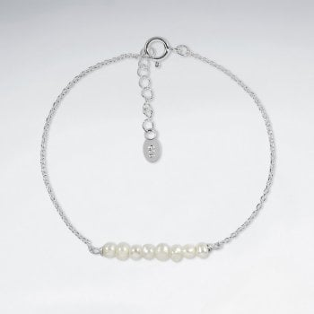 Pearls Silver Adjustable Bracelet