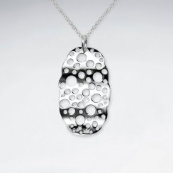 Perforated Spotted Wavy Oval Silver Pendant