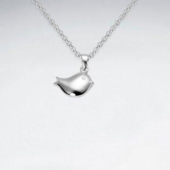 Petite Bird Silhouette Pendant in Sterling Silver