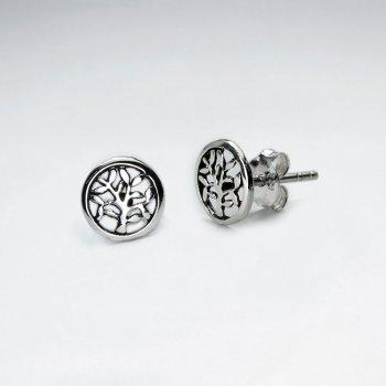 Petite Branching Tree Circle Filigree Earrings