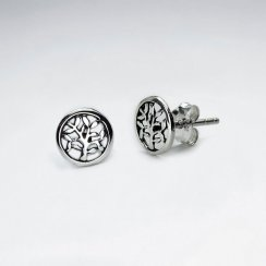 Petite Branching Tree Circle Filigree Earrings
