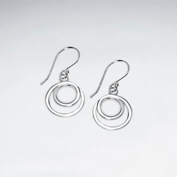Petite Circle-in-Circle Sterling Silver Earrings