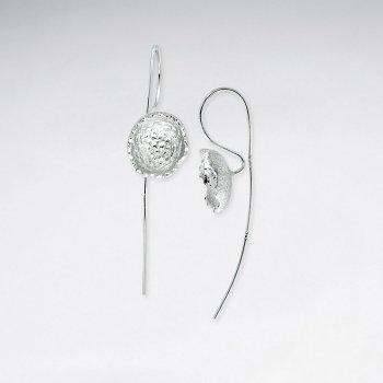 Petite Circular Blossom Long Hook Drop Earrings