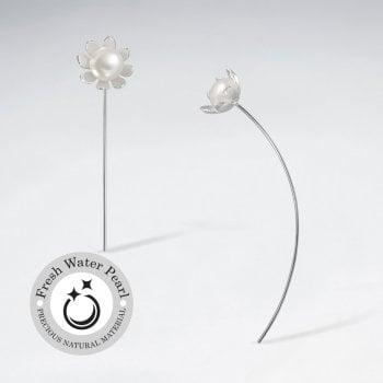 Petite Flower Pearl Blossom Silver Earrings