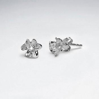 Petite Flower Studs in Sterling Silver