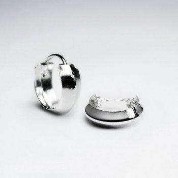 Petite Polished Silver Faceted U-Hoop Earrings Pack of 5 Pairs