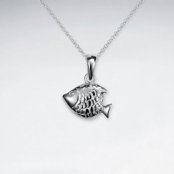 Petite Scale Textured Fish Silver Pendant