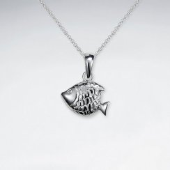 Petite Scale Textured Fish Silver Pendant