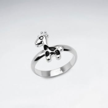 Petite Silver Giraffe Enamel Ring