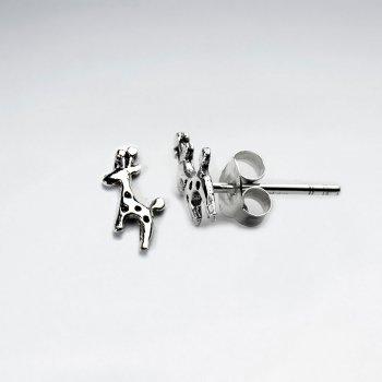 Petite Silver Giraffe Stud Earrings