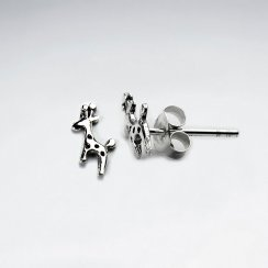 Petite Silver Giraffe Stud Earrings