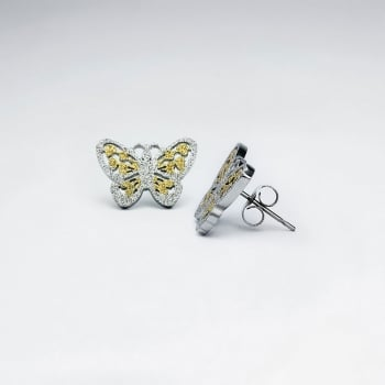 Petite Textured Cutout Butterfly Stainless Steel Earrings