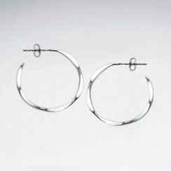 Pinched Style Open Hoop Sterling Silver Earrings