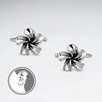 Plumeria Flower Oxidized Silver Ear cuffs