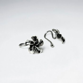 Plumeria Flower Oxidized Silver Ear cuffs