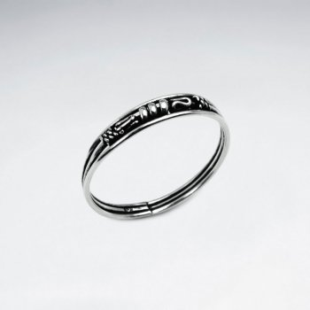 Poetic Form Detailed Oxidized Silver Ring