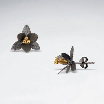 Pointed Blossom Sterling Silver Flower Earrings