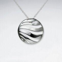 Polished Abstract Wavy Lines Circle Cutout Silver Pendant