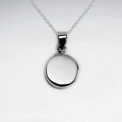 Polished Circle Button Charm Pendant