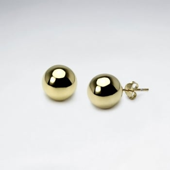 Polished Classic Silver Ball Stud Earrings