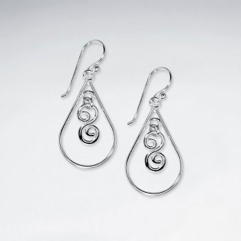 Polished Gorgeous Ornate Open Teardrop Earrings With Stunning Silver  Details