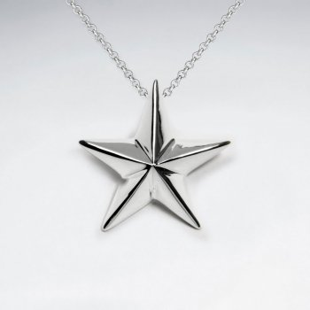 Polished Raised Silver Star Pendant