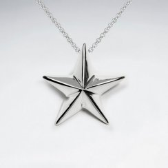 Polished Raised Silver Star Pendant