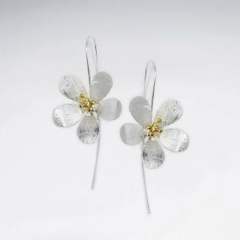 Polished Silver 3D Flower Blossom Threader Drop Earrings