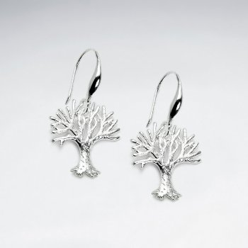 Polished Silver Bare Branch Tree of Life Dangle Hook Earrings