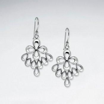 Polished Silver Blossom and Teardrop Dangle Drop Earrings
