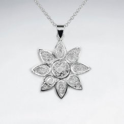 Polished Silver Brushed Textured Flower Blossom Pendant