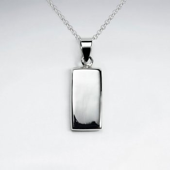 Polished Silver Classy Simple Rectangle Pendant