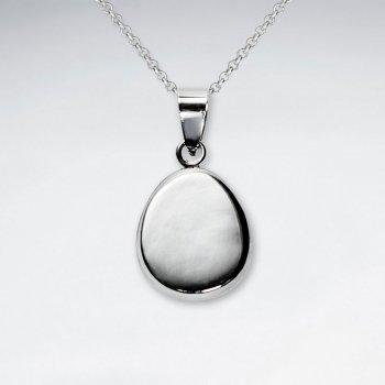 Polished Silver Egg Shaped Dangle Pendant