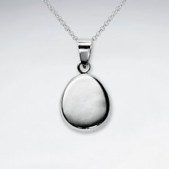 Polished Silver Egg Shaped Dangle Pendant