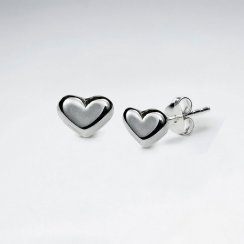 Polished Silver Elegant Heart Stud Earrings