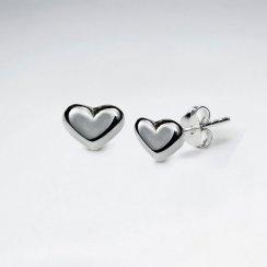 Polished Silver Elegant Heart Stud Earrings