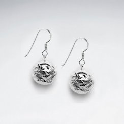 Polished Silver Fireball Globe Dangle Drop Hook Earrings