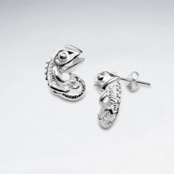Polished Silver Funky Iguana Style Stud Earrings