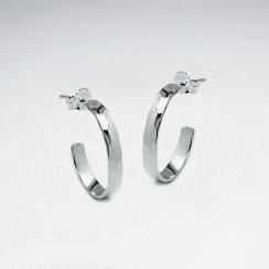 Polished Silver Half Hoop Earrings