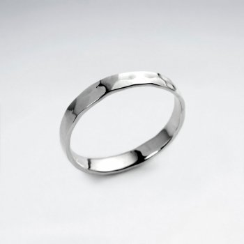 Polished Silver Hammered Ring
